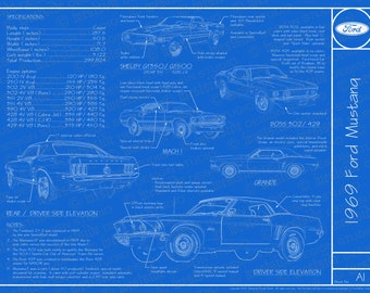 """1969 Ford Mustang blueprint poster 18""""x24"""" (JPEG image file)"""