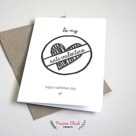 Anti Valentine's Day CARD / For a friend / Purple and Grey / Anti-Valentine / Funny / 5x7 Folded Card – Printable DIY, Instant Download