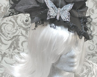 Large Fascinator, black with butterfly