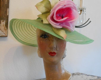 Awesome 1940's Lime Green Horsehair Open Crown Tilt Hat with Huge Pink Flower