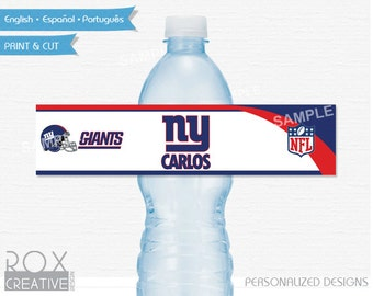New York Giants Party Water Labels, Printable Labels, Digital – Customized