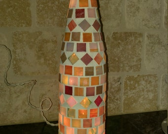 Mosaic Stained Glass Wine Bottle Light