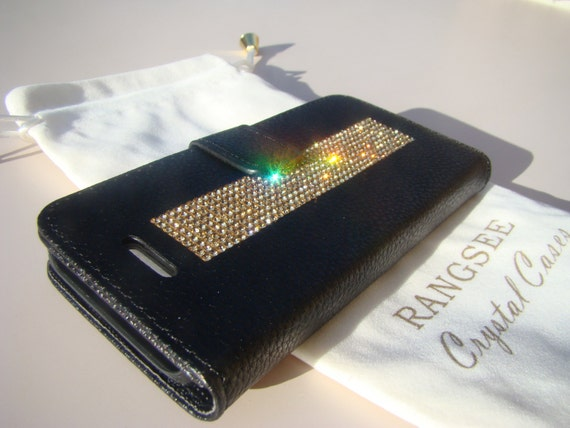 iPhone SE Case /5/ 5s Gold Topaz Crystals on Black Wallet Case. Velvet/Silk Pouch bag Included, Genuine Rangsee Crystal Cases.
