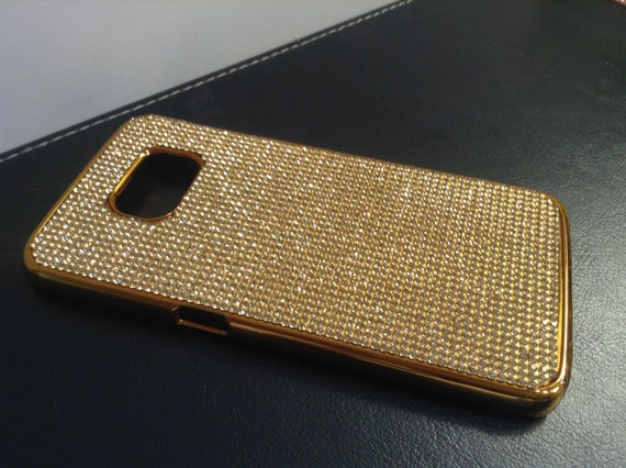 Galaxy S6 Edge Gold Topaz Crystals on Gold-Bronze Chrome Case. Velvet/Silk Pouch Bag Included, Genuine Rangsee Crystal Cases.