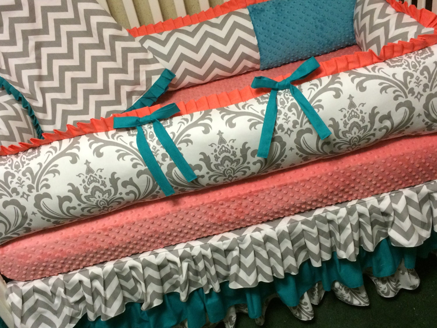 Baby girl bedding chevron - Custom Baby Bedding 4 Pc Coral Teal And Gray Damask And Chevron Baby Girl Bedding