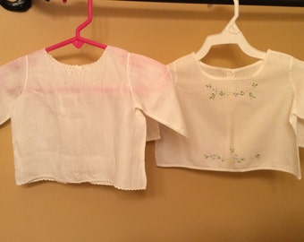 Vintage baby newborn diaper shirt shirts antique baby newborn doll clothes clothing 1930s 0-3 months white inewborn clothes set of two