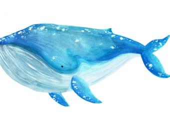 Whale A6 postcard print