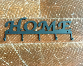 "Metal ""HOME"" Key Rack Holder With Five Key Hooks Wall Hanging Can Be Personalized with Your Name"