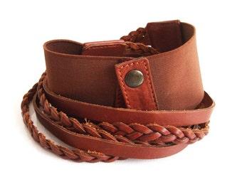 Vintage Leather Belt - Boho Chic Belt - 1990s Bohemian Belt - Hippie Brown Belt