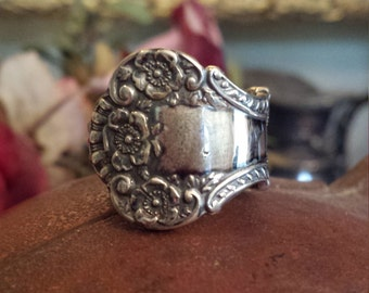 Victorian sterling silver spoon ring, size 7
