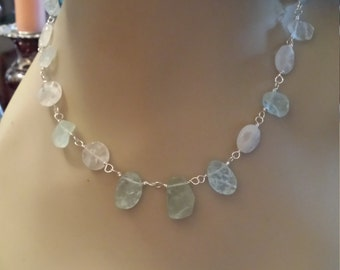 Natural Aquamarine and faceted quartz necklace