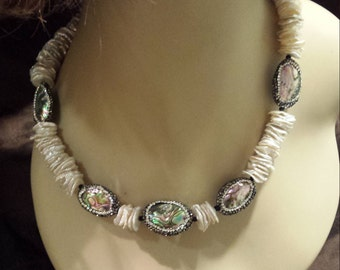 Keshi Pearl one strand necklace with abalone and swarosky