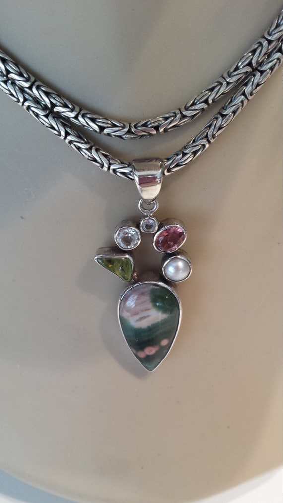 Green ocean jasper sterling silver pendant adorned with other semi precious stones