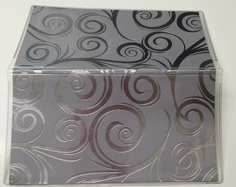 Fancy Swirl Foiled, Black Silver- Vinyl Checkbook cover,Scrapbook style,Duplicate or Single Checks, No wait Ready to Ship