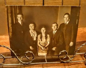 Vintage Family Portrait of Five Instant Ancestors Scrapbook Paper Photo