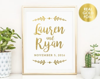 Custom Wedding Welcome Signs in REAL GOLD Foil / Reception Sign / Couples Name Signs / Wedding Name Sign  / REAL Gold Foil / Peony Theme