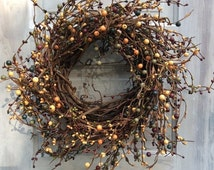 CYBER MONDAY SALE Grapevine Wreath -Pip Berry Wreath - Primitive Mixed Berry Wreath -Free Shipping - Door Decor- Large Candle Ring - Fall Wr