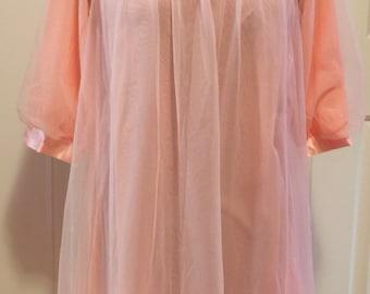 1950's Pink Chiffon Babydoll
