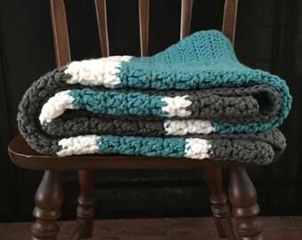 Chunky Acrylic Thick Crochet Afghan Blanket Throw White Aqua Teal Gray Grey