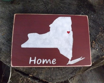 Home State Sign Rustic Country Decor Wedding Anniversay Shower Housewarming Gift.