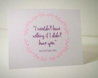 Monsters Inc. Love Card