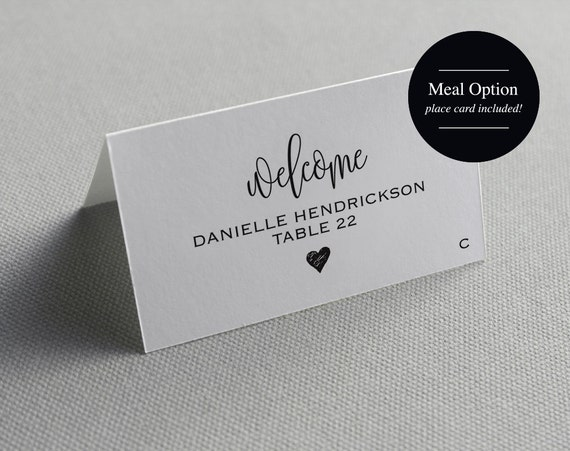 place card template printable template by blisspaperboutique