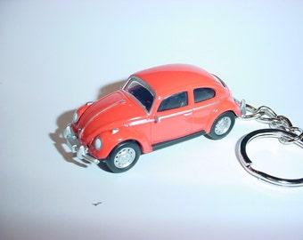 3D Volkswagen Beetle custom keychain by Brian Thornton keyring key chain finished in orange stock VW trim bug