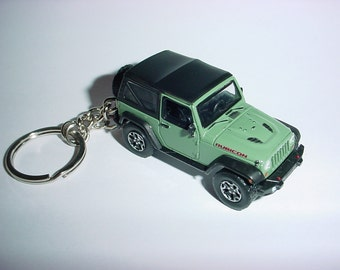 3D Jeep Wrangler Rubicon X custom keychain by Brian Thornton keyring key chain finished in green color factory trim 4x4 offroad mission
