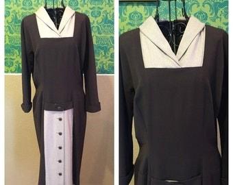 FLASH SALE Vintage 1940s Dress - Brown Two Tone Gabardine Day Dress - L