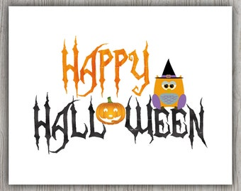 Orange Black Halloween Gift, Pumpkin Halloween Decor, Whimsical Prints, Happy Halloween Owl Printable Halloween, Orange Owl Print