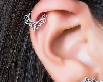 Helix earring. cartilage hoop. cartilage earring. helix hoop. helix piercing. boho earrings. gold tragus earring. silver helix hoop. tribal.
