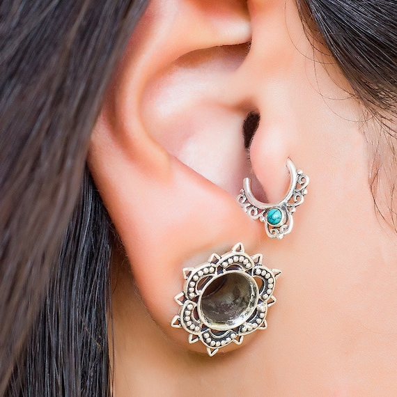 Tragus earring. cartilage earring. tragus hoop. helix piercing. tragus jewelry. tiny earring. cartilage piercing. tribal earrings. piercing.