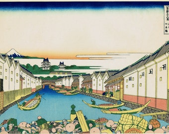 "Japanese Ukiyo-e Woodblock print, Katsushika Hokusai, ""Nihonbashi bridge in Edo, from the series Thirty-six Views of Mount Fuji"""