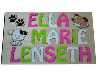 Pretty Pooches Three (3) Children's Wooden Personalized Name Puzzles, Puppy, Dog, Paw Prints id289625377