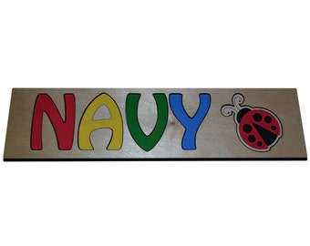 Personalized Wooden Name Puzzles With Red Ladybug & Primary Colors With Child's Name id247223208