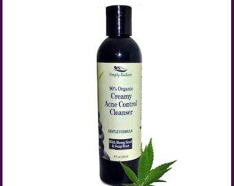 Organic Creamy Acne Control Cleanser - Gentle Formula - Facial Cleanser - Acne Cleanser Natural Skincare