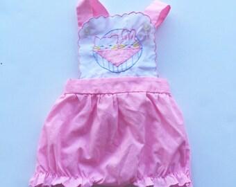 Vintage Cradle Togs pink baby romper. Vintage baby romper. Baby sunsuit. Size 9 months.