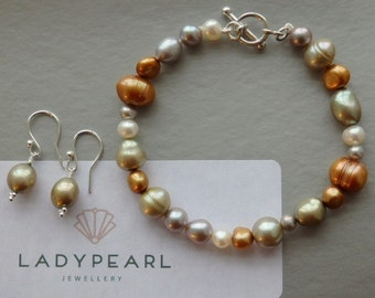Mother's Day Pearls, Freshwater Pearl Jewellery, Pearl Bracelet, Pearl Earrings