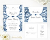 Blue lace wedding invitation with RSVP postcard | Wedding Invitation printed on shimmer cardstock