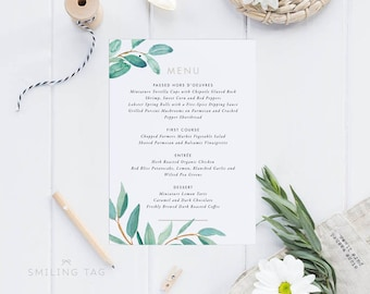 Printable Wedding Menu Printable - Watercolor Botanical Wedding Menu Download PDF - Printable Menu PDF - Letter or A4 Size (Item code: P360)