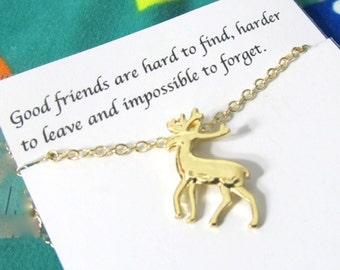 Deer Friendship Bracelet   Mouse Antler Bracelet  A5gold  Best Friend Bracelet, Best Friend Gift, Birthday Gift, Dainty Jewelry Bracelet