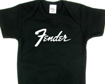 Fender Baby Onesy 6 Colors Guitar Shirt BodySuit Rock n Roll Heavy Metal Full Shirt Swaddler Amp Bass P-Bass Strat Tele