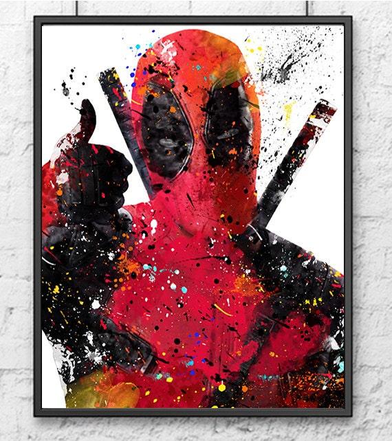 Deadpool Watercolor Print Deadpool Art Superhero By
