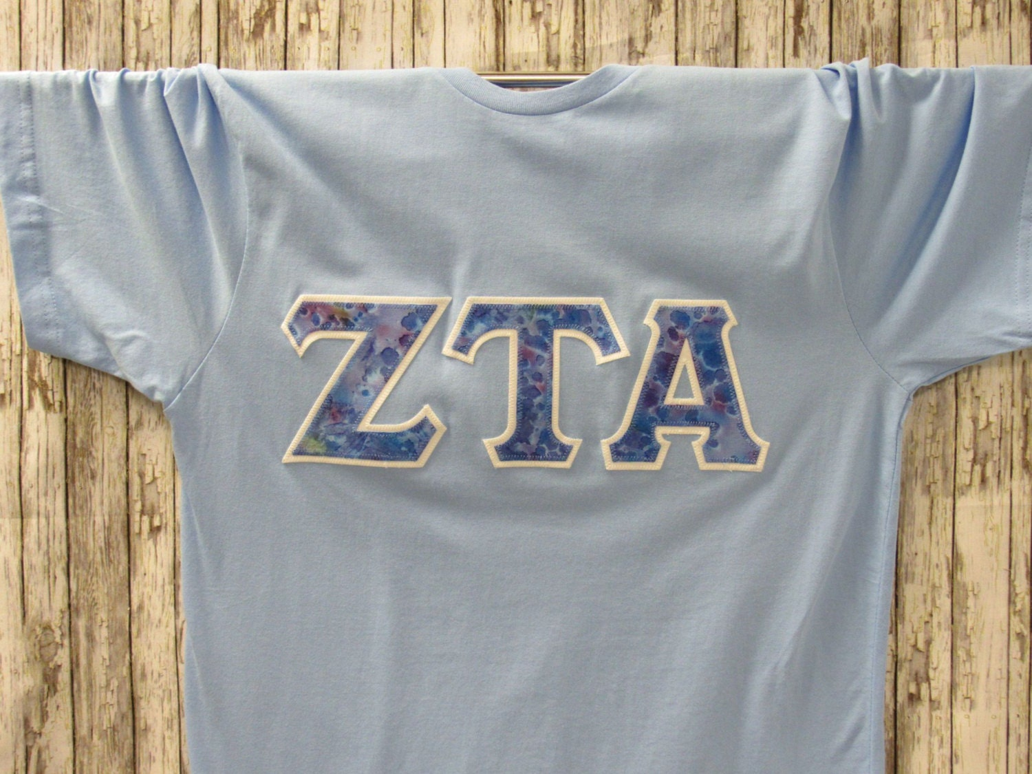 Light blue short sleeve sorority double stitched letters shirt for Cute greek letter shirts