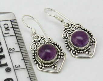 Handmade Earrings - Amethyst Earrings - Sterling Silver Earrings - Dainty Earrings - Unique Earrings - Designer Earrings - Dangle Earrings