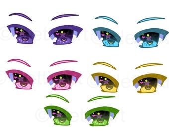 Anime Eyes clipart, Manga eyes clipart for personal and commercial use, digital clipart, instant download, scrapbooking