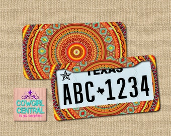Aztec License Plate, Tribal License, Monogram License Plate, Aztec License, Tribal License Plate Frame, aztec gift, front car tag