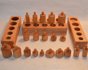 Montessori Knobbed Cylinder Set of 4 Blocks
