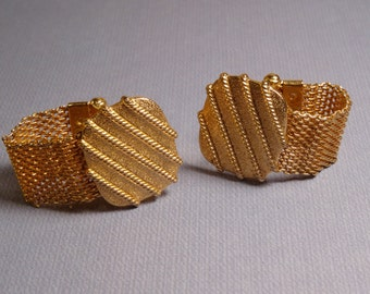 Mesh Gold-Tone Cuff Links