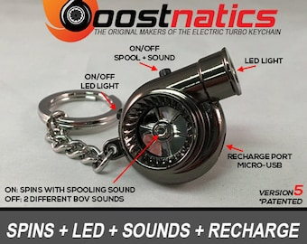 Boostnatics Rechargeable Electric Spinning Turbo Keychain with Sounds and LED - Black - Version 5 (V5)